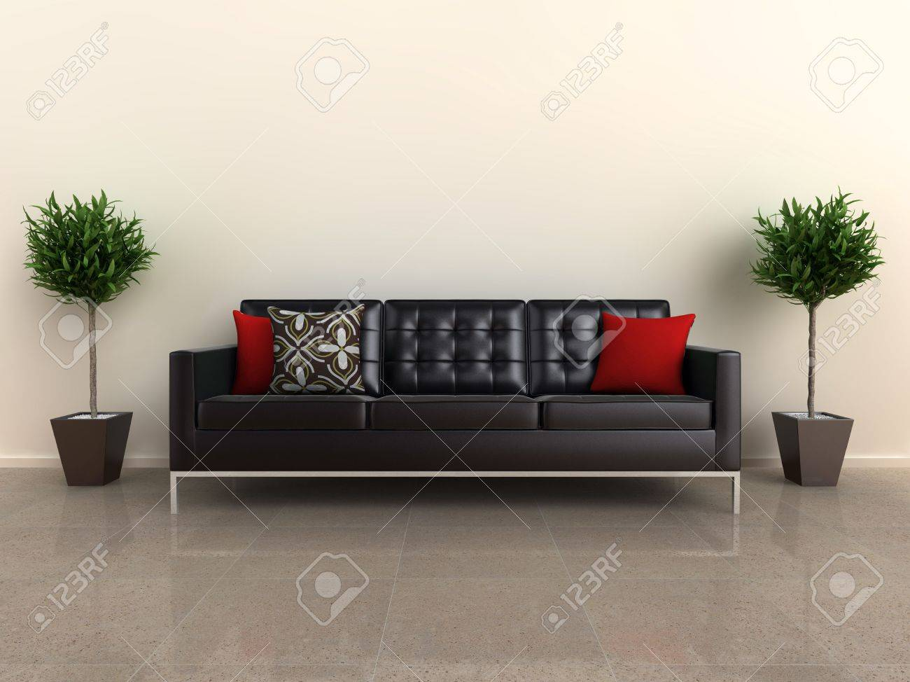 Designer couch  Illustration Of A Designer Sofa, With Plants Either Side, On ...