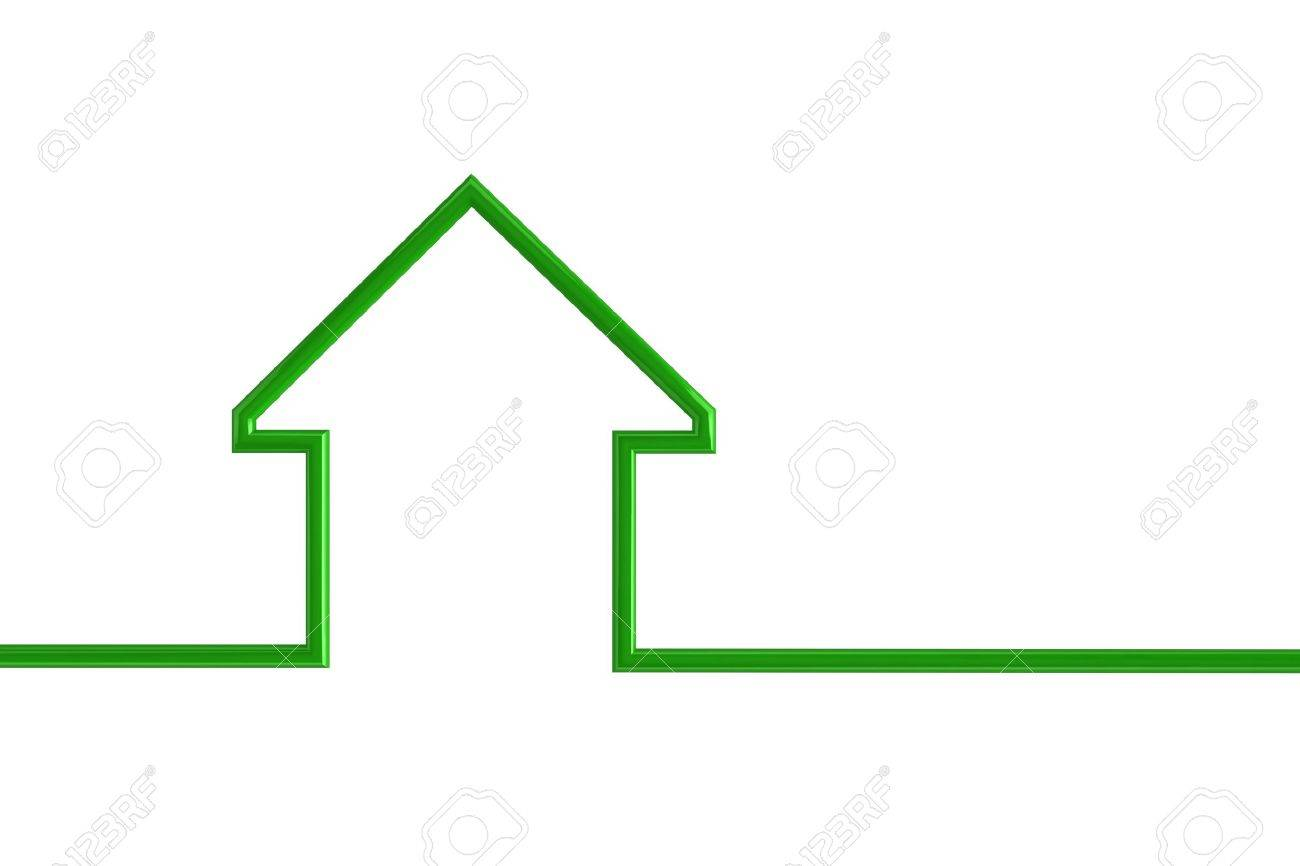 House outline picture - 3d Illustration Of A Green House Outline Stock Illustration 5793109