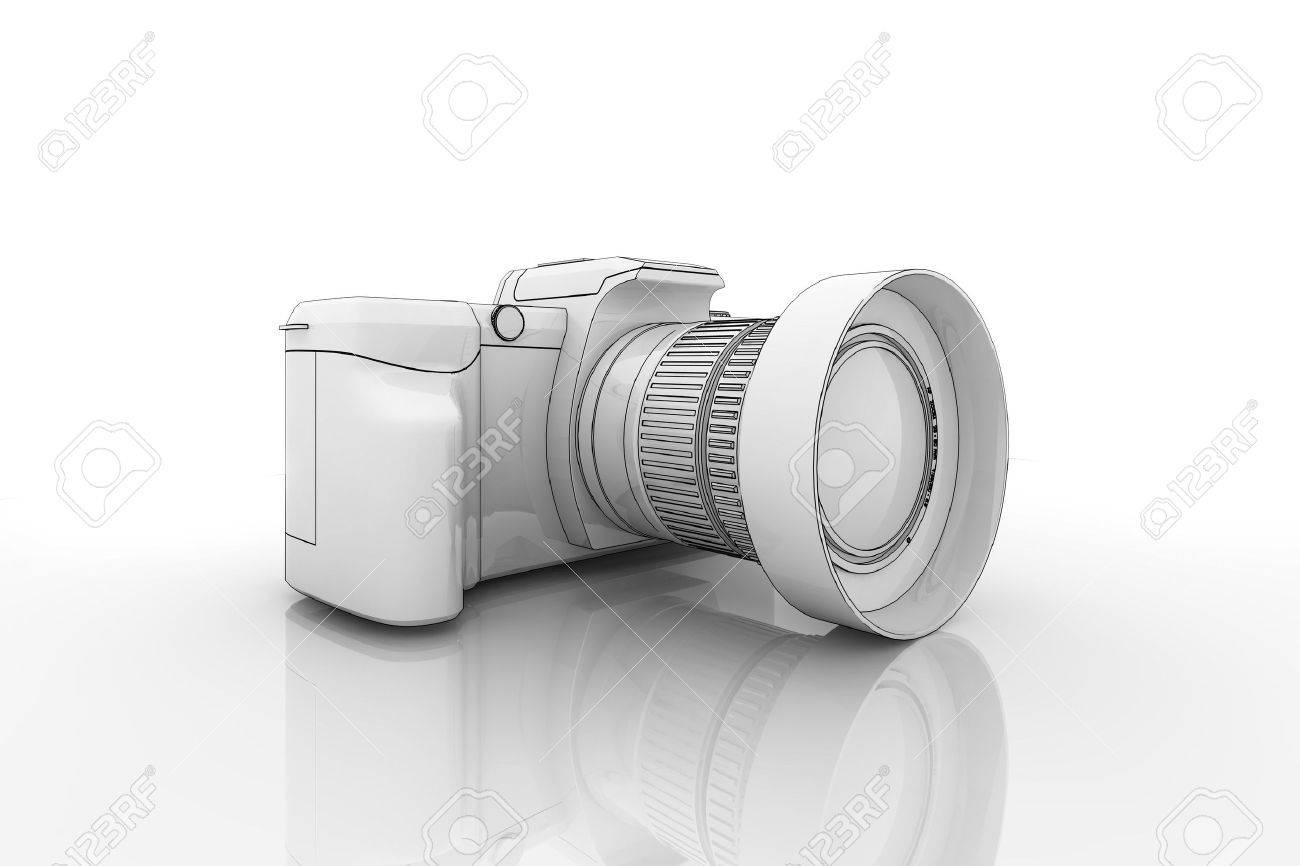 Camera Dslr Camera Cartoon illustration of a dslr camera on reflective surface stock photo surface