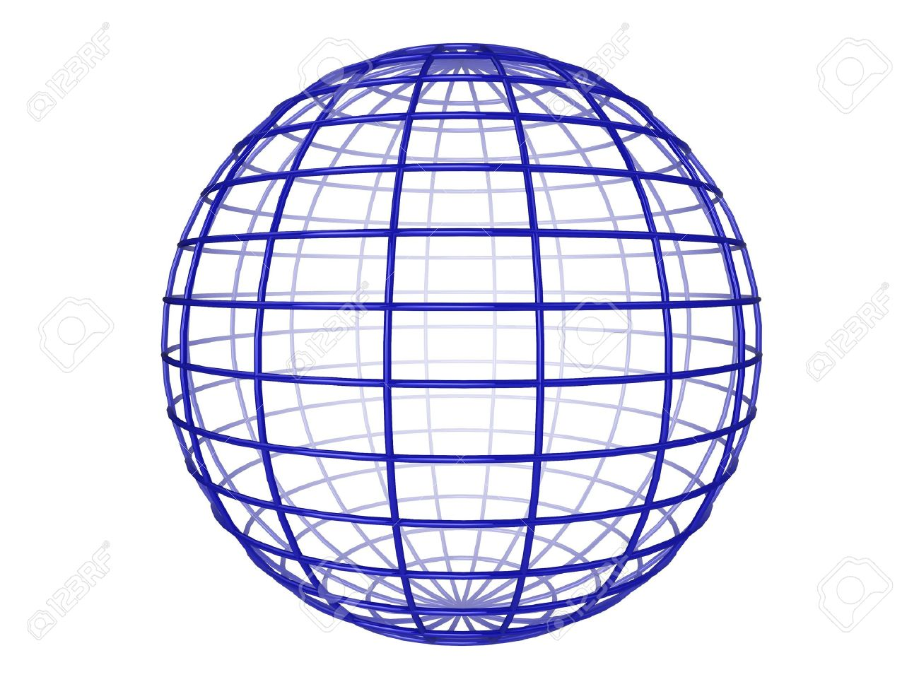 Illustration of a blue 3d wireframe sphere, on a white background Stock Photo - 5864779