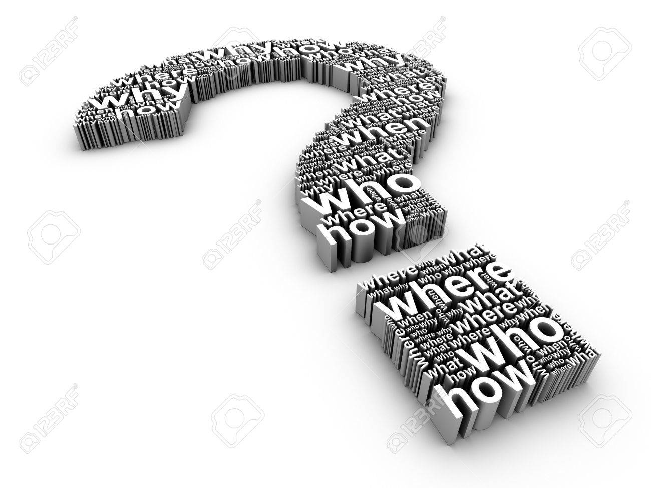 3d question mark made up of words on a white background Stock Photo - 5919932