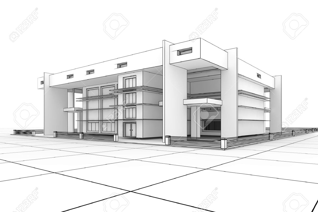 3d Modern House Design In A Blueprint Style Stock Photo   6261490