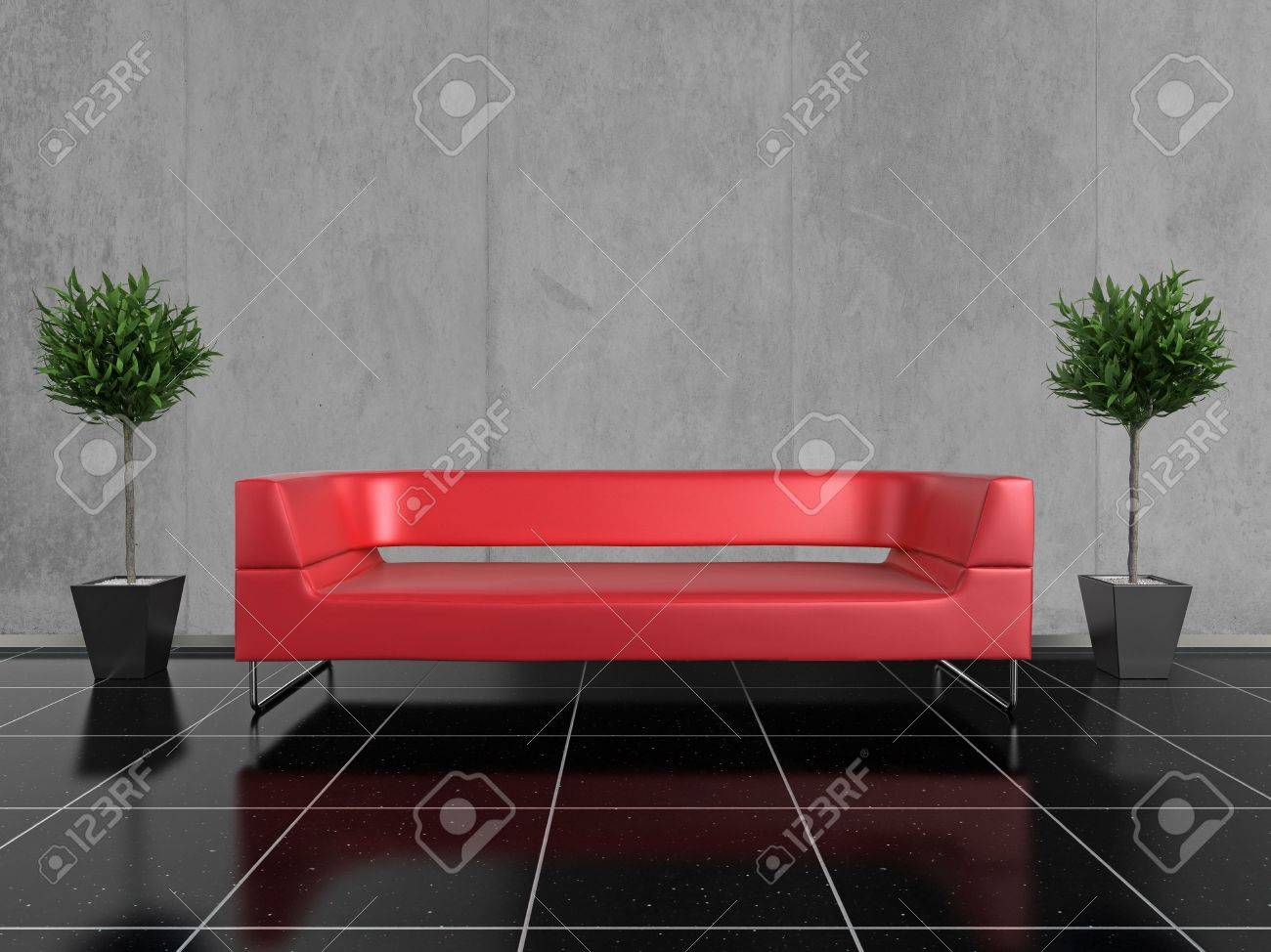 Modern Red Sofa On A Glossy Black Stone Floor, With A Plant Either ...