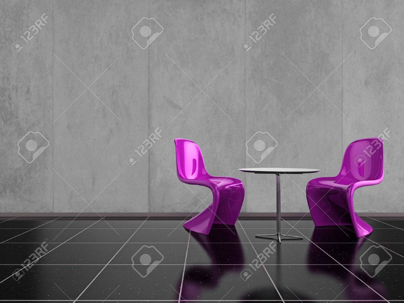 Modern pink chairs on a shiny black stone floor Stock Photo - 6558258