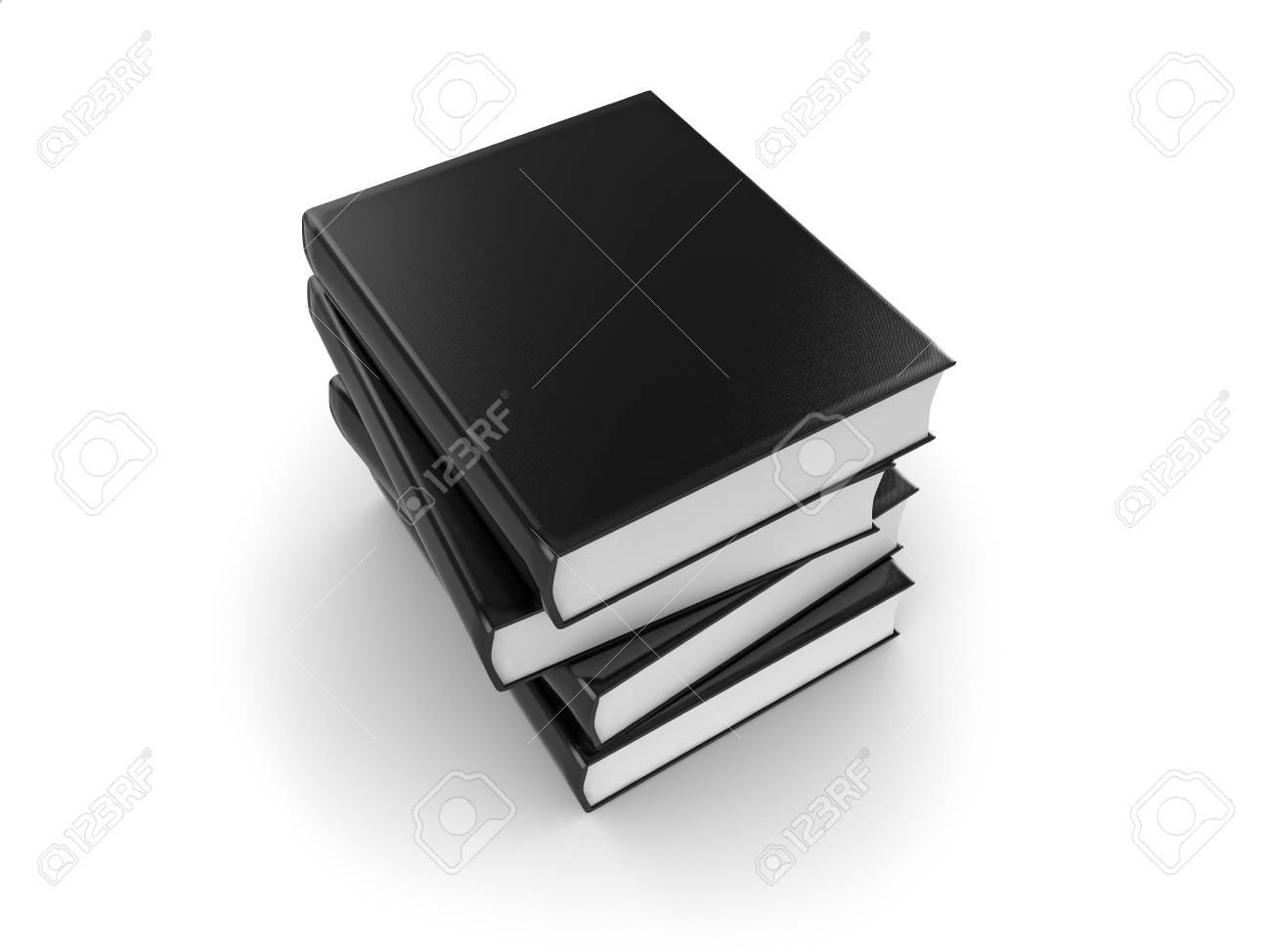 3d illustration of a pile of black books Stock Illustration - 6618796