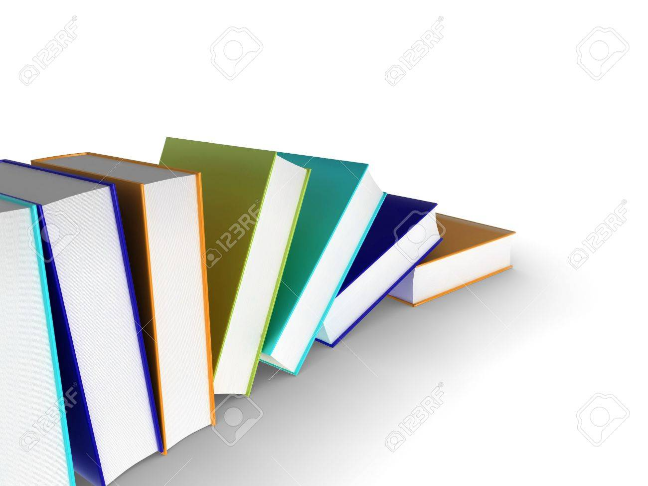 3d illustration of a row of books Stock Illustration - 6686322
