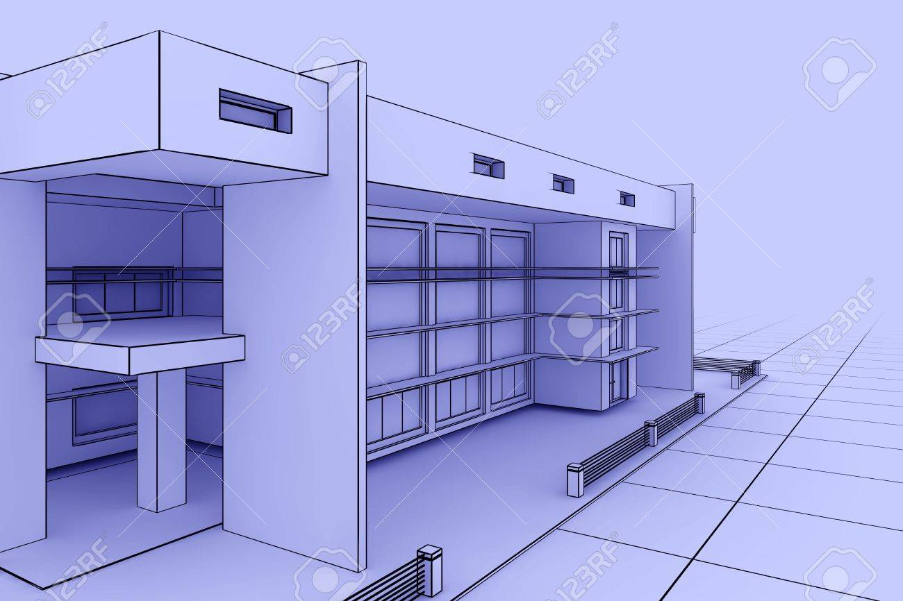 3d illustration of a modern house design in a blueprint style