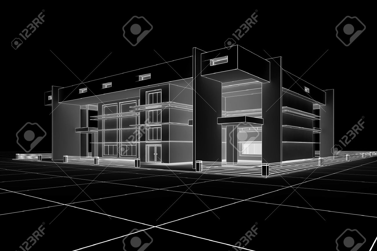3d Modern house design in a blueprint style Stock Photo - 6860534