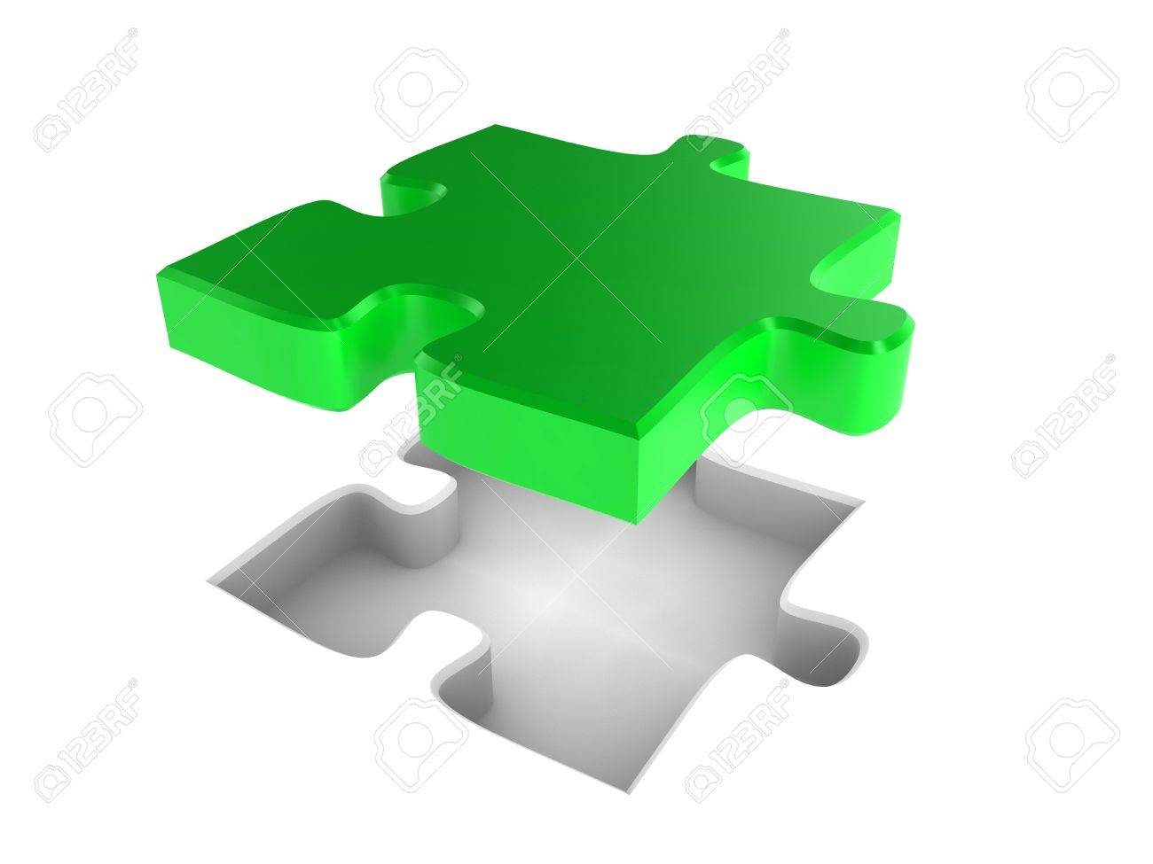 The missing piece of a jigsaw puzzle, fitting into place Stock Photo - 7133566