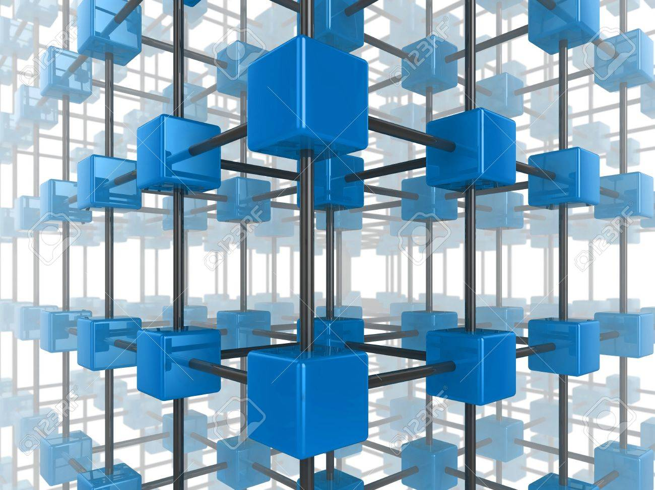 High quality illustration of a network of glossy blue green cubes, connected by a wire frame Stock Illustration - 7711540