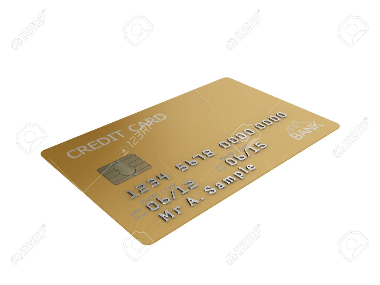 Realistic illustration of a gold credit card with fictional details, isolated on a white background. Stock Photo - 8238782