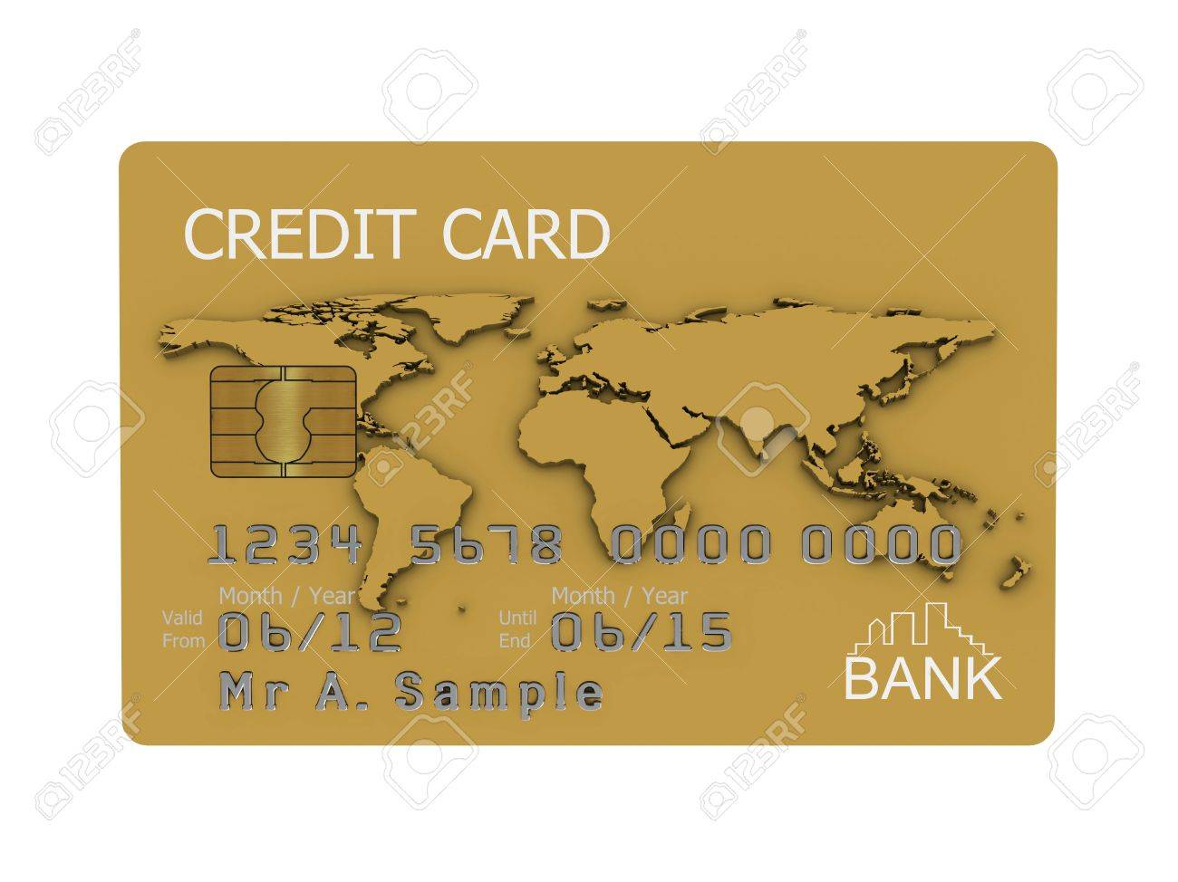 Realistic illustration of a gold credit card with fictional details, isolated on a white background. Stock Photo - 8238786