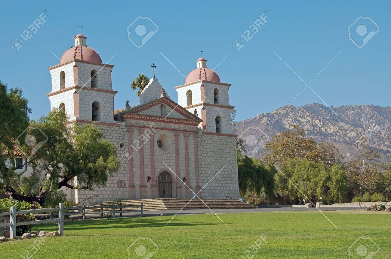 a panoramic view of mission santa barbara against the santa ynez mountains - 5818336