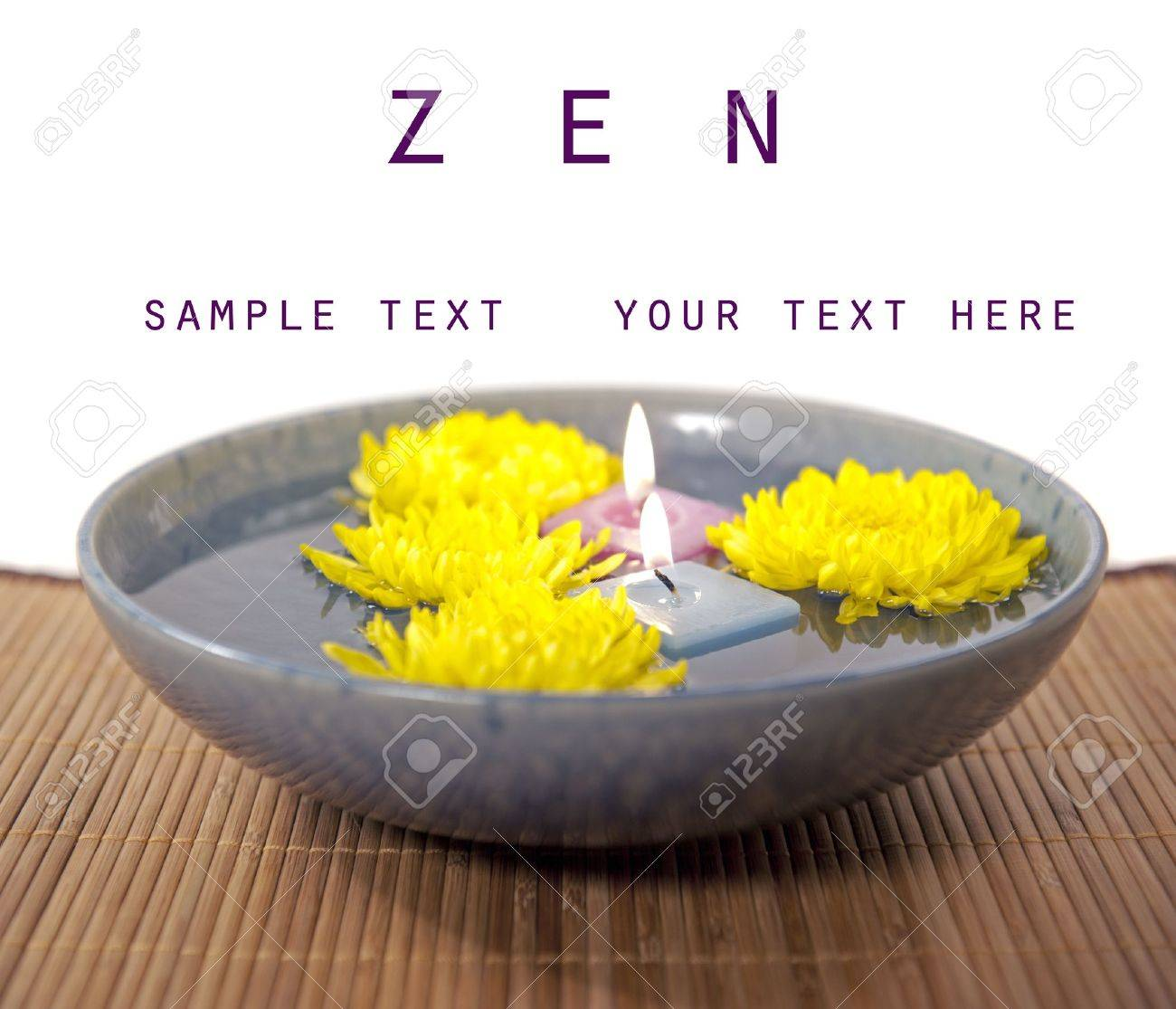 zen reflection chrysanthemum flowers with copy space - 8385424