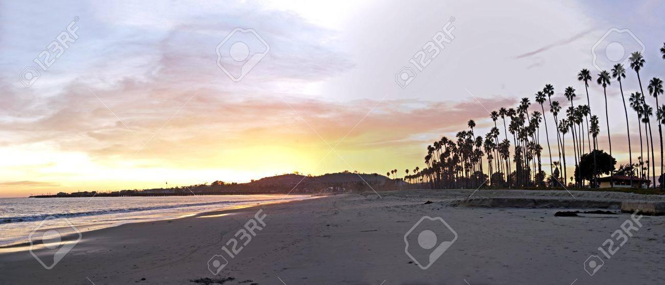 sunset with santa barbara's palm trees - 9651401