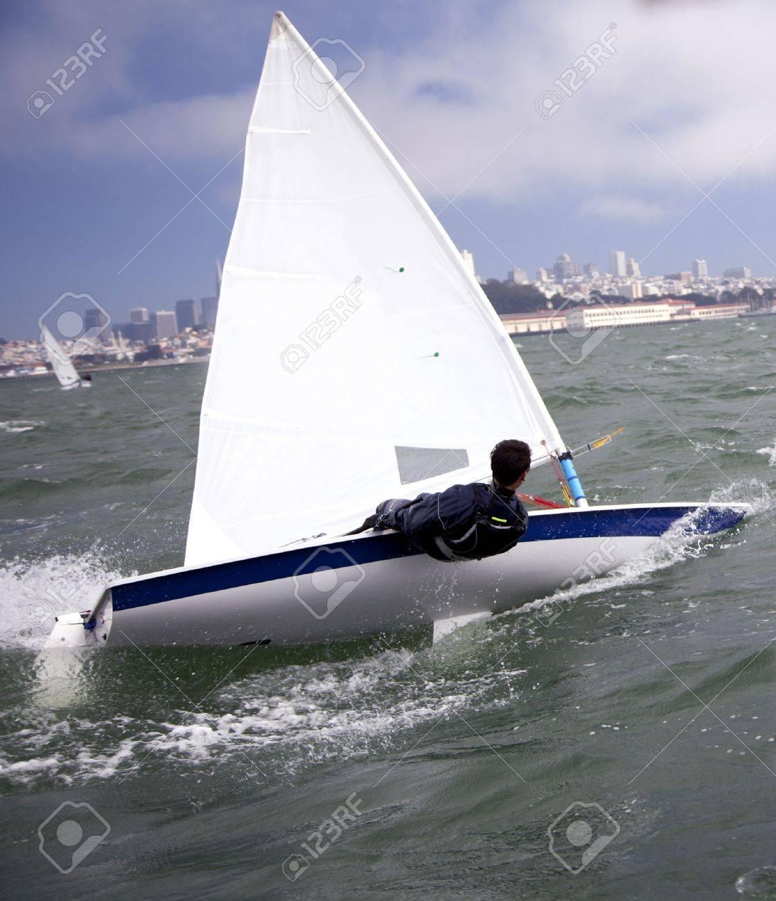 small sailboat on san francisco bay - 10453645