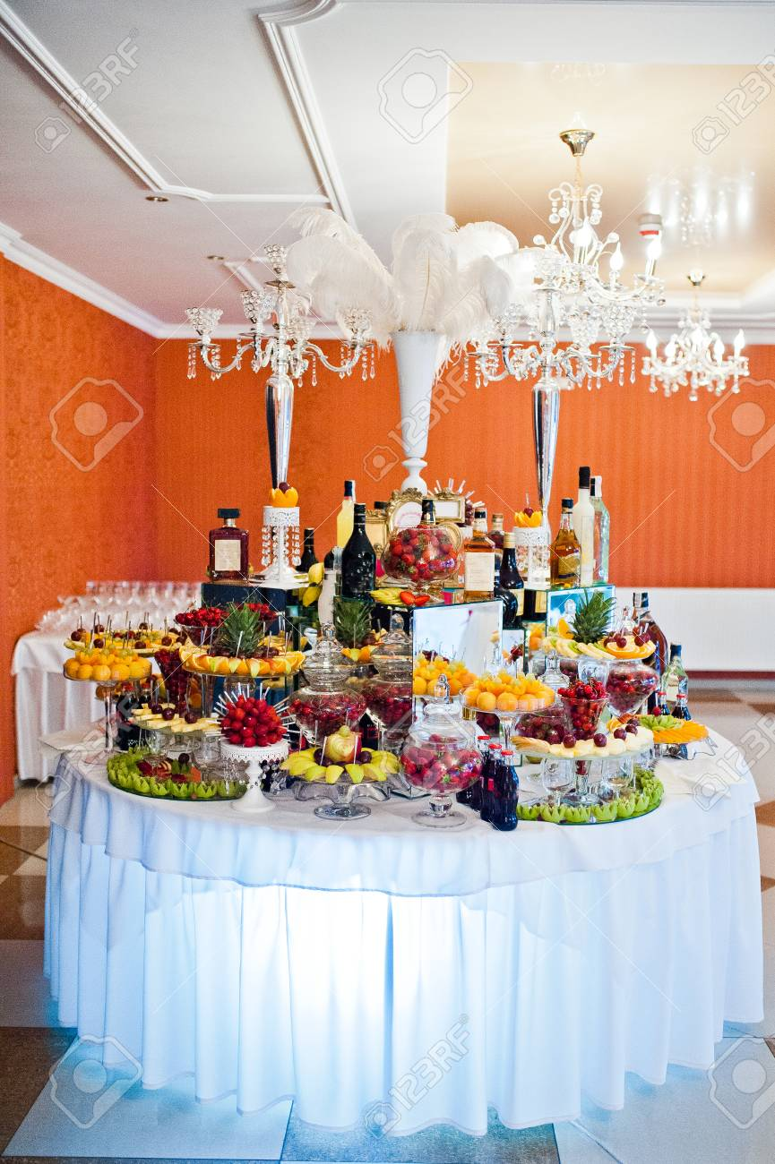 Different Fruits With Alcohol Drinks At Catering Wedding Reception