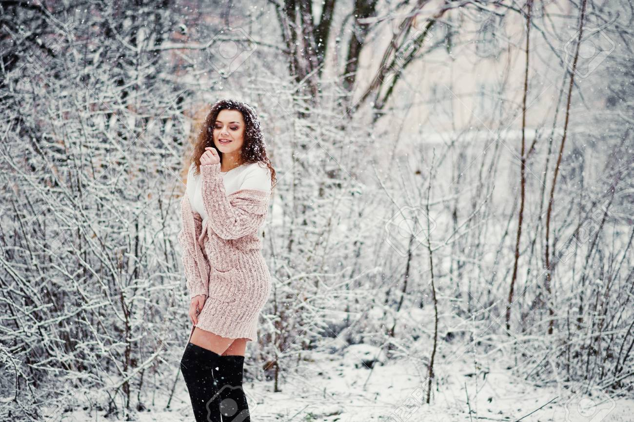 c3b181f6d9 Curly Brunette Girl Background Falling Snow