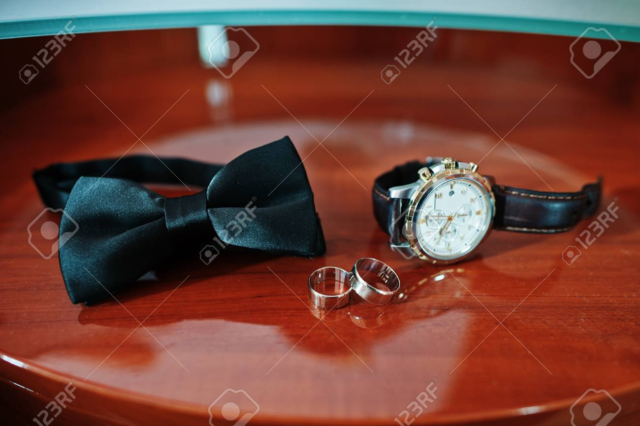 Mens Accessories For Groom At Wedding Watches Bow Tie And Stock