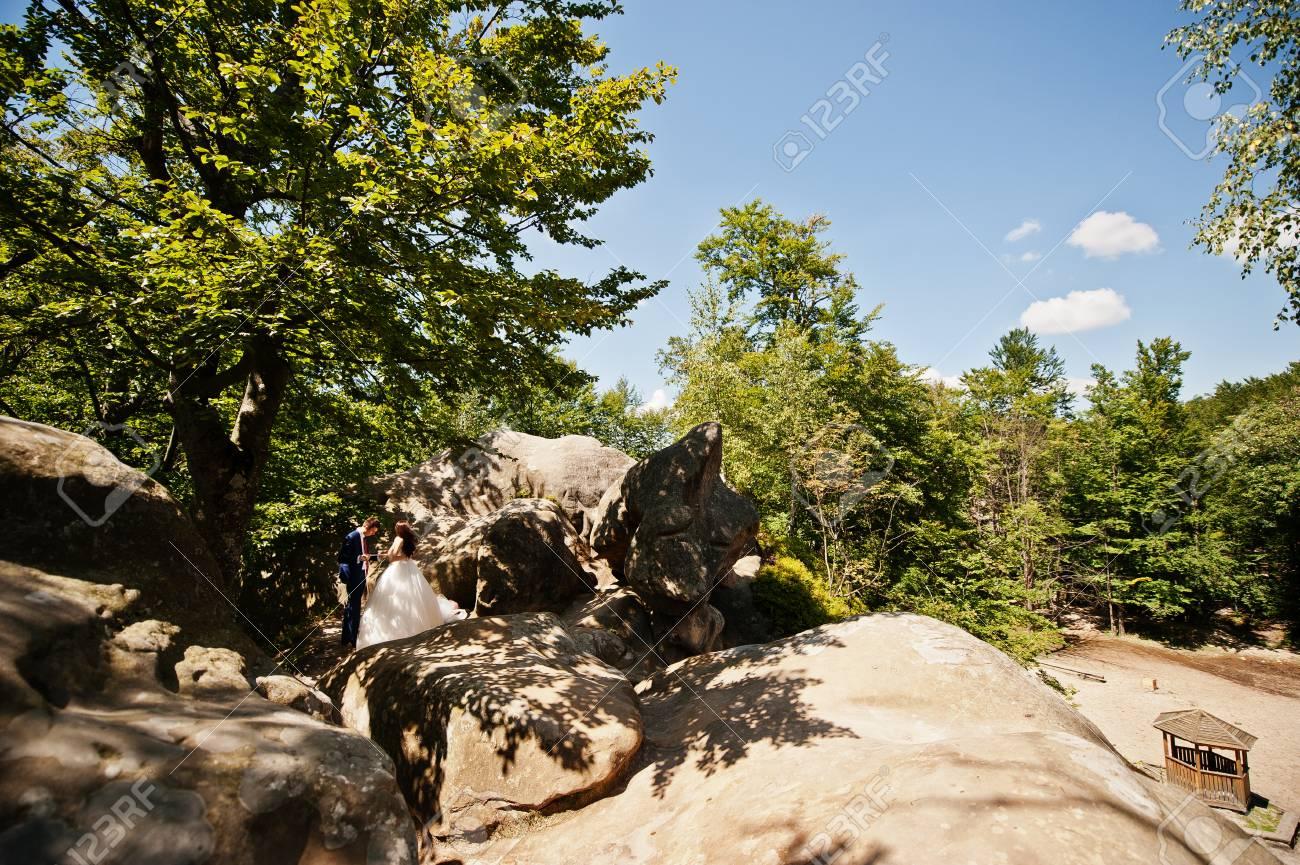 Pares Encantadores De La Boda En Los Paisajes Asombrosos Con La Roca - Paisajes-asombrosos
