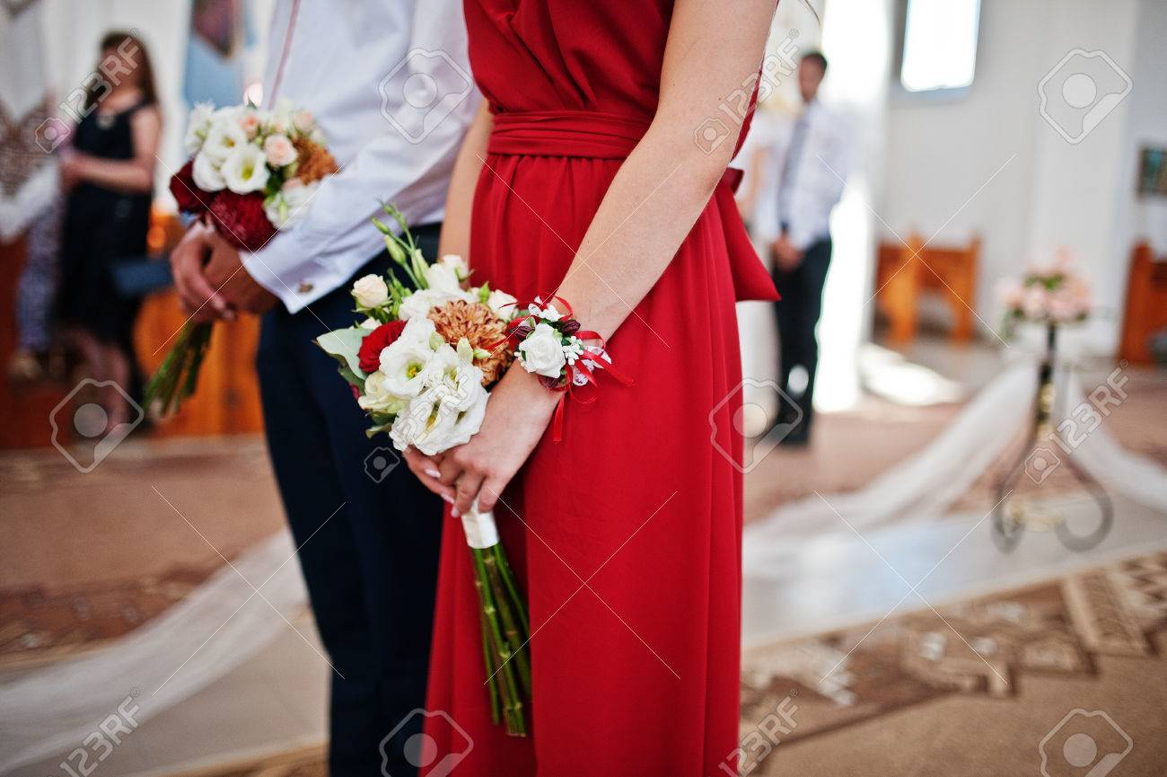Hands Of Bridesmaids At Red Dresses With Wedding Bouquet At Church Stock Photo Picture And Royalty Free Image Image 76608961,Jcpenney Wedding Dresses Bridal Gowns
