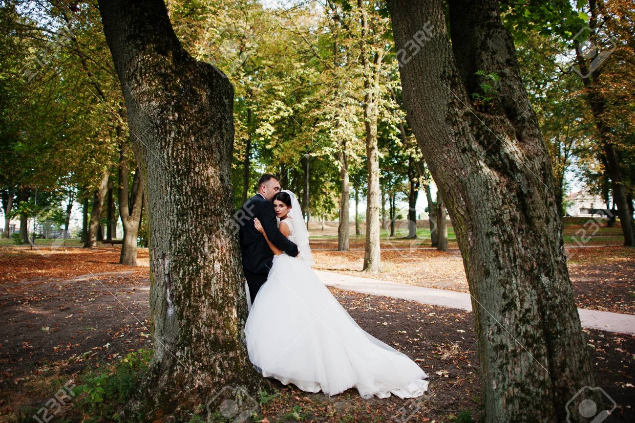 Amazing Young Gorgeous Newly Married Couple Taking A Walk In The Park On Their Wedding Day
