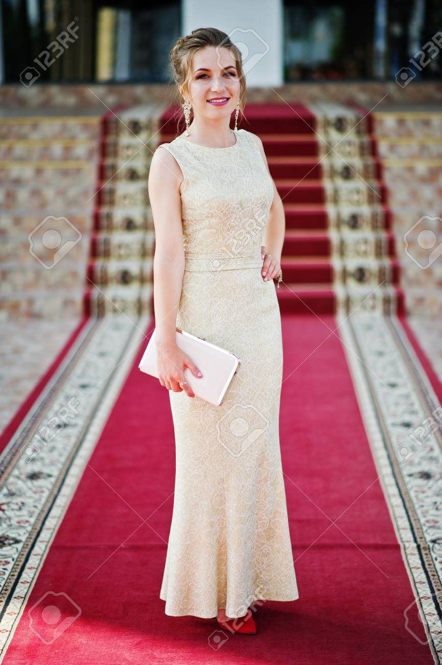 Portrait Of A Stunning Young Woman In Pretty Evening Gown Posing ...