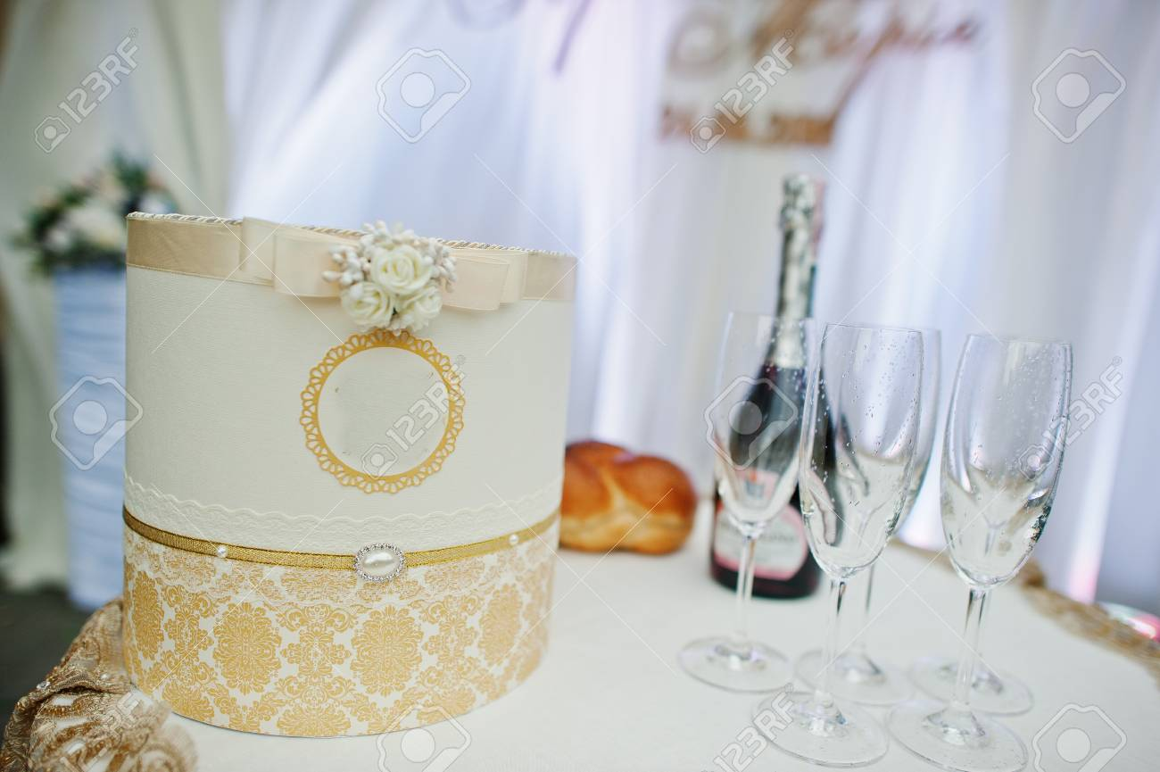 Beautiful Decorated Box On The Wedding Table Next To The Champagne ...