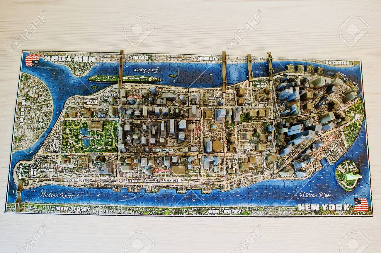 City Map Of New York City.Close Up Photo Of A 3d New York City Map Assembled From Puzzles