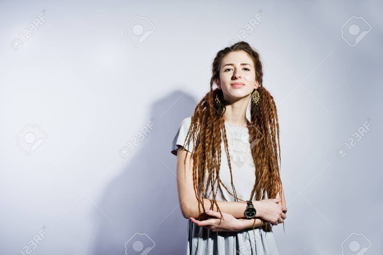 Studio Shoot Of Girl In Gray Dress With Dreads On White Background ...