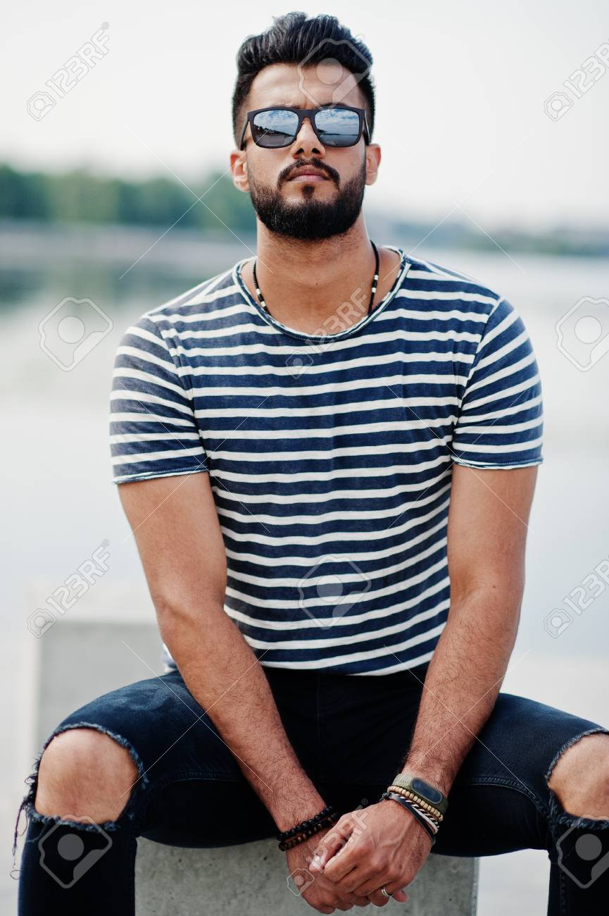 Handsome Tall Arabian Beard Man Model At Stripped Shirt Posed Outdoor Fashionable Arab Guy At