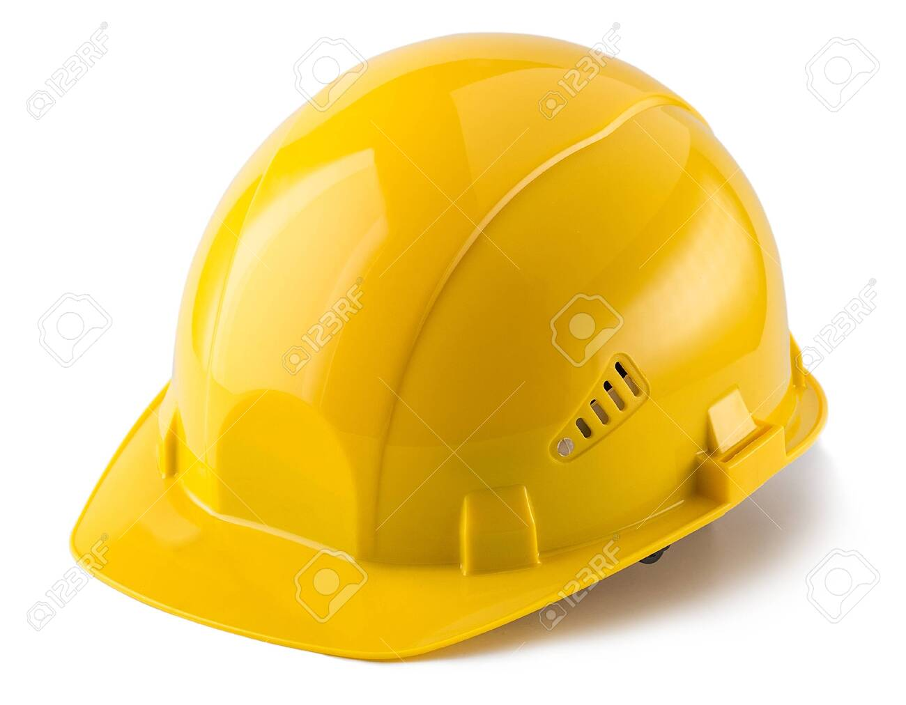 Yellow safety helmet isolated on white background - 136752401