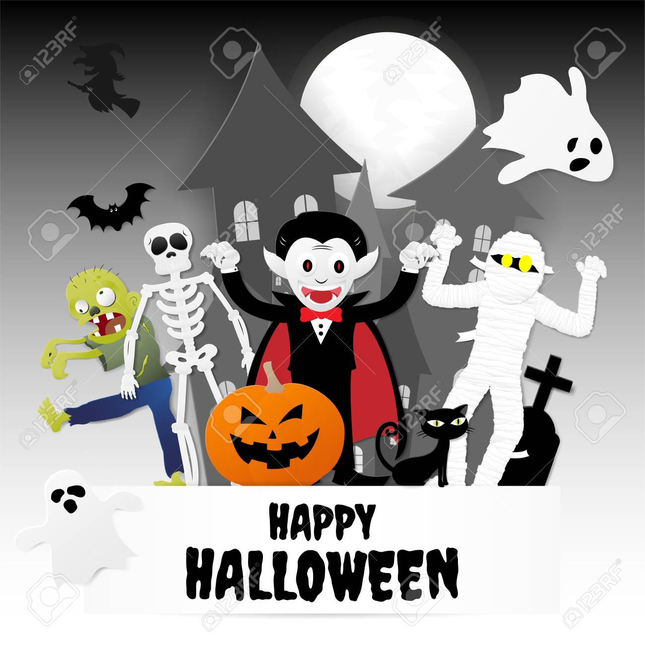 Happy Halloween Night Party. Set Of Characters In Cartoon Paper Style With  Pumpkin, Ghost