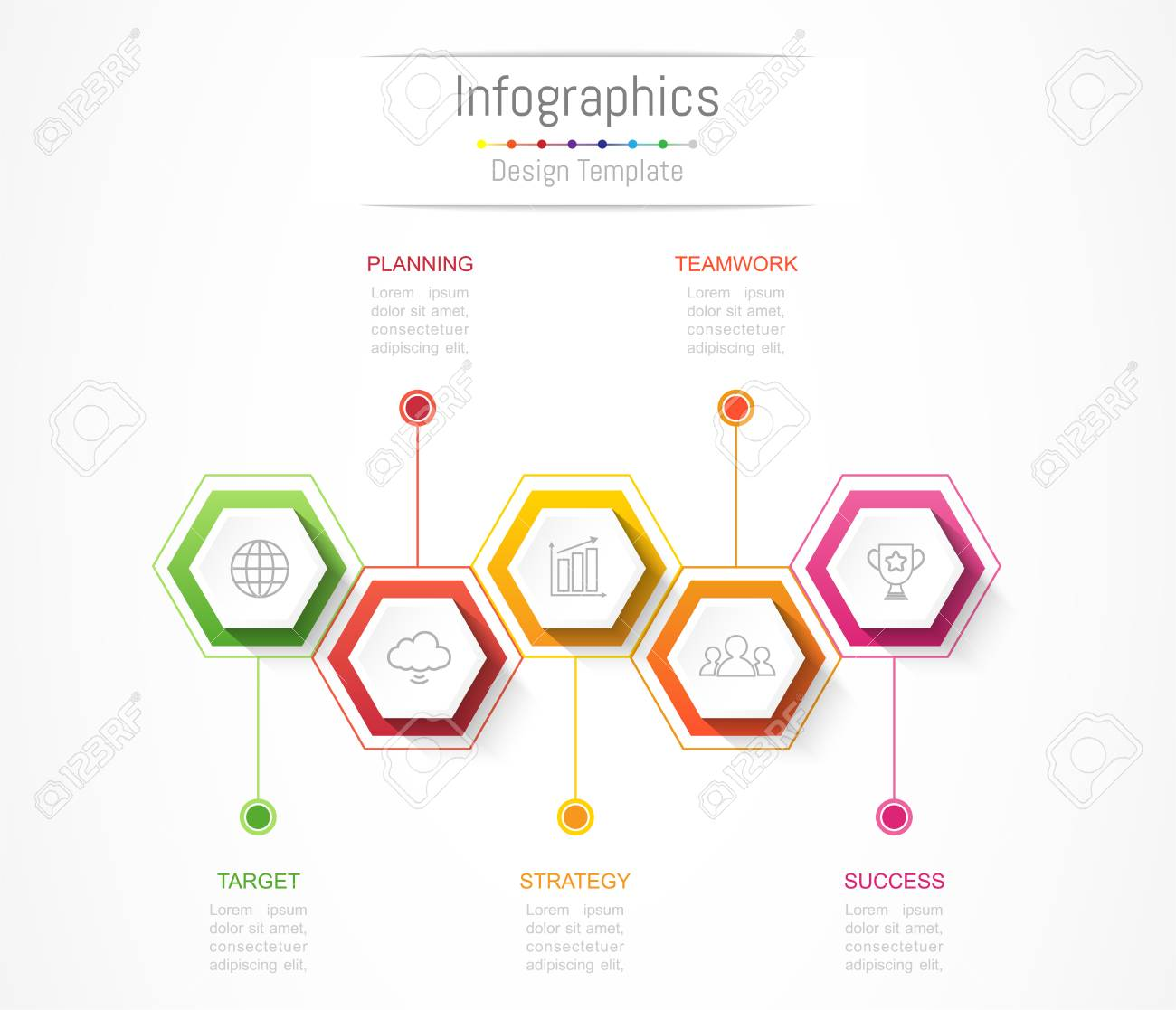 infographic design elements for your business data with 5 options