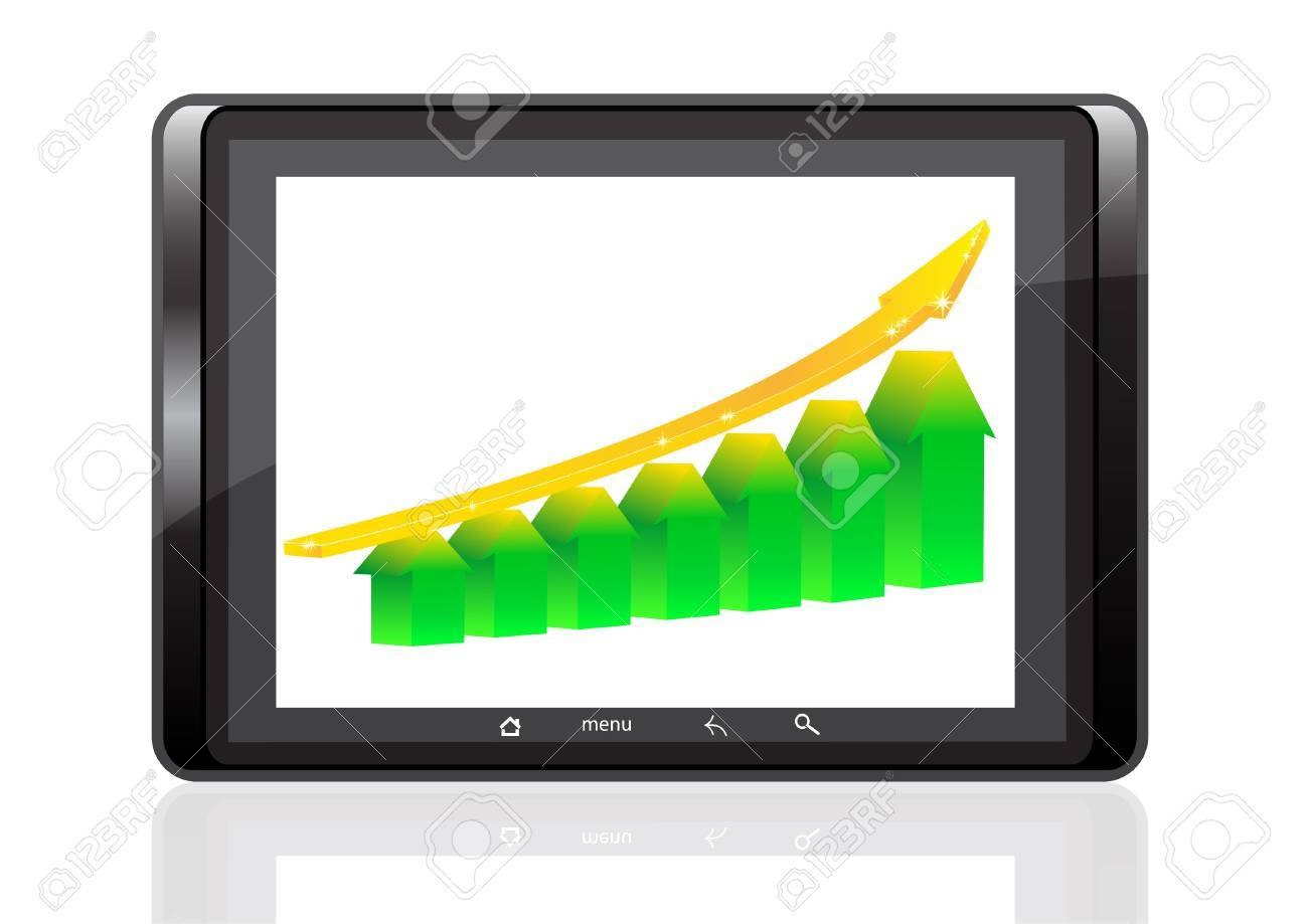 digital tablet PC on a white background shows graphically growth of success Stock Vector - 13617687