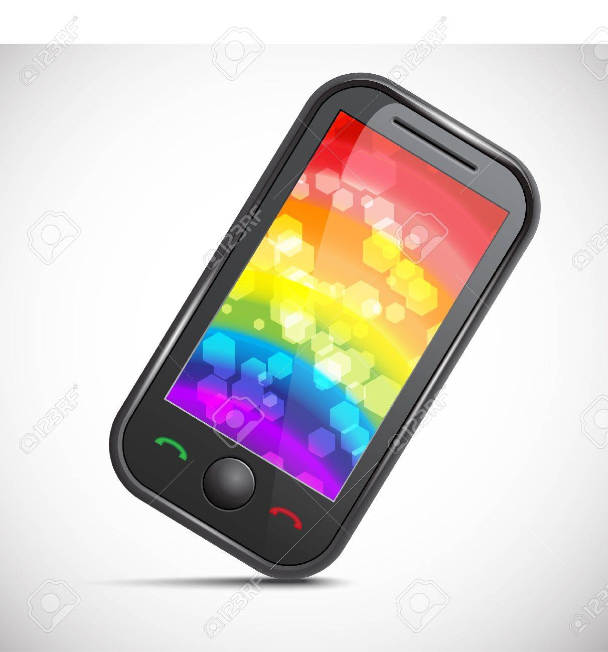 Icon Of A Modern Mobile Phone With An Abstract Colourful Background
