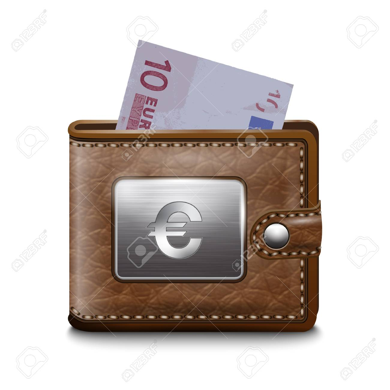 Leather wallet  with EURO, vector image Stock Vector - 16921629