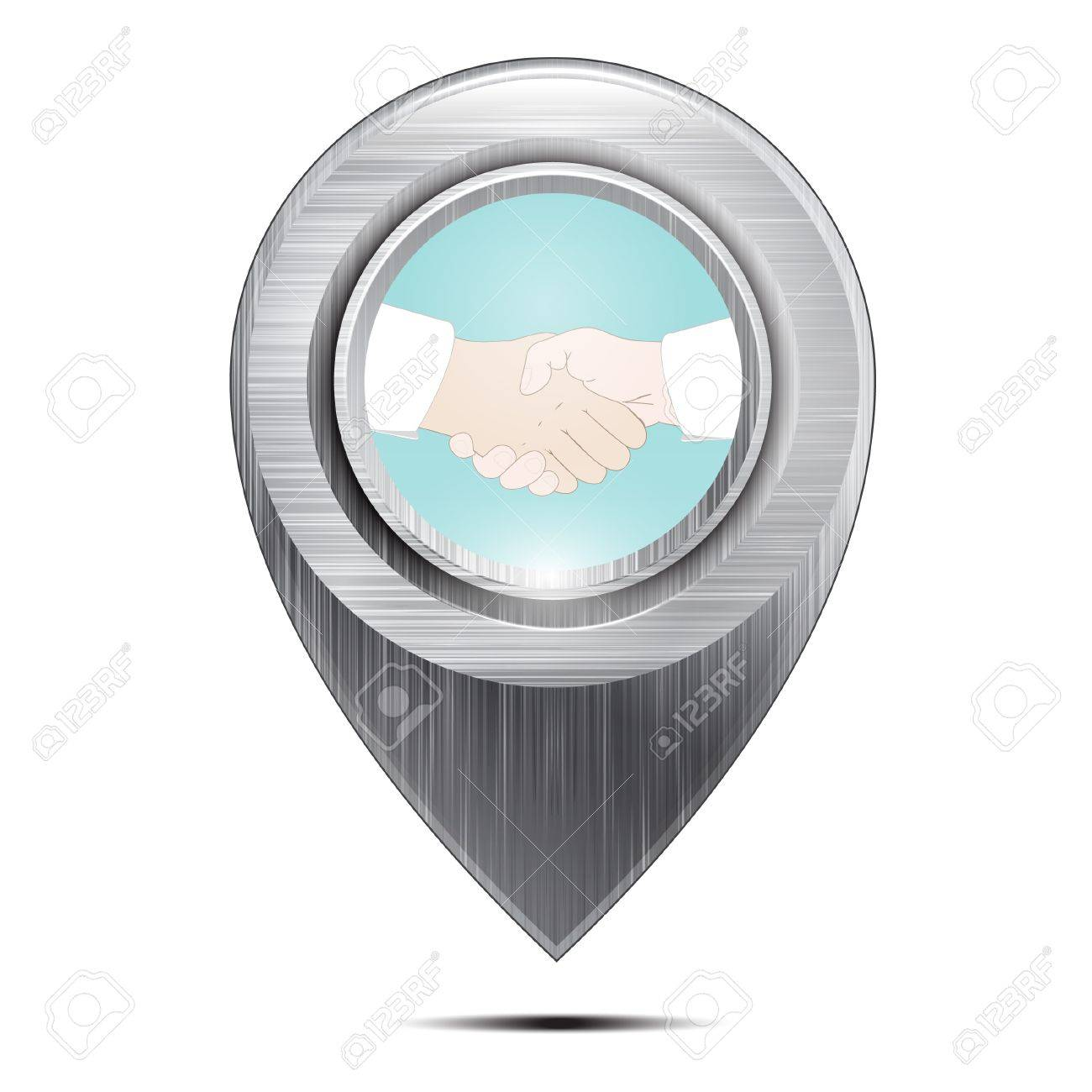 Metal map pointer. Handshake.Isolated on a white background. Vector Stock Vector - 18235093