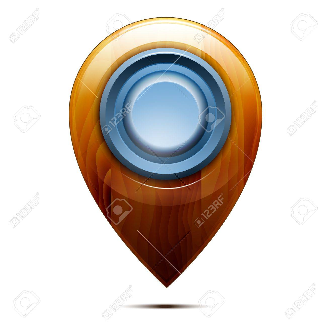 Wooden map pointer ,  blue button, isolated on a white background. Vector Stock Vector - 18235143