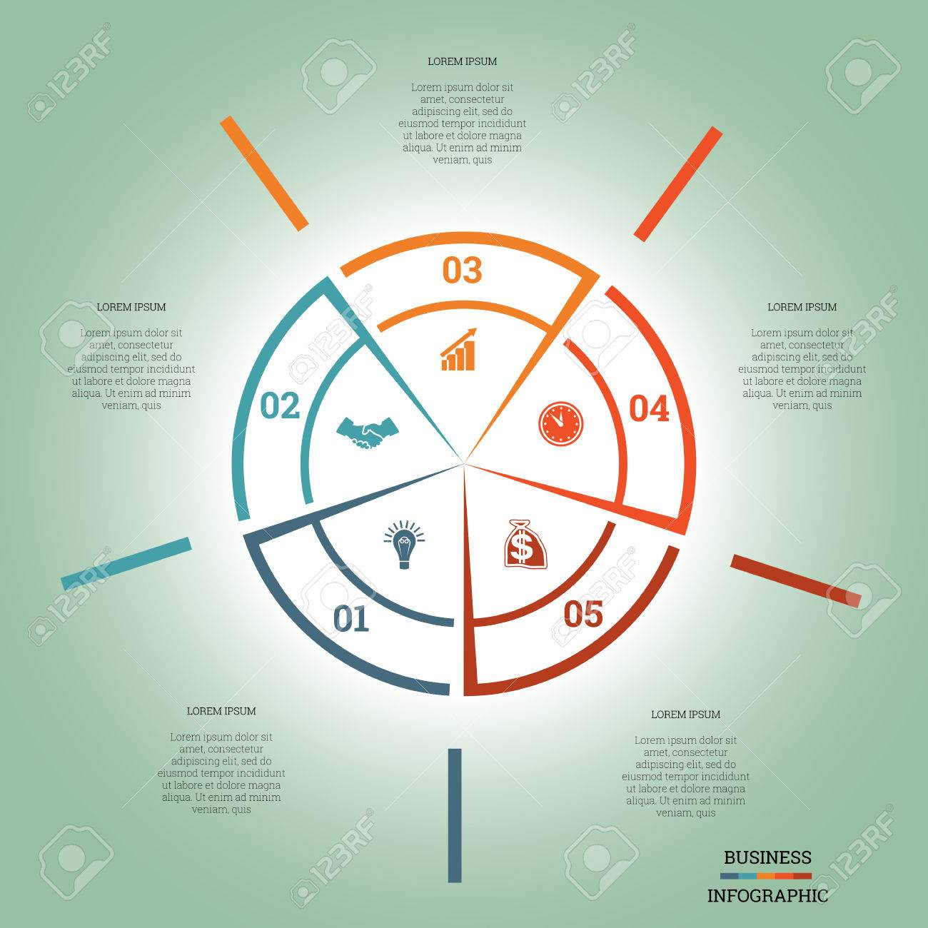 Infographic pie chart template colourful circle from lines with infographic pie chart template colourful circle from lines with text areas on five positions stock vector nvjuhfo Choice Image
