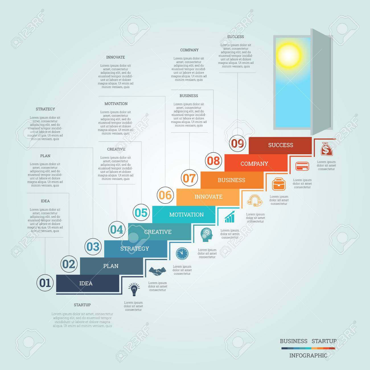 Business success startup conceptual infographics steps up ladders business success startup conceptual infographics steps up ladders and doorway template nine positions ccuart Image collections