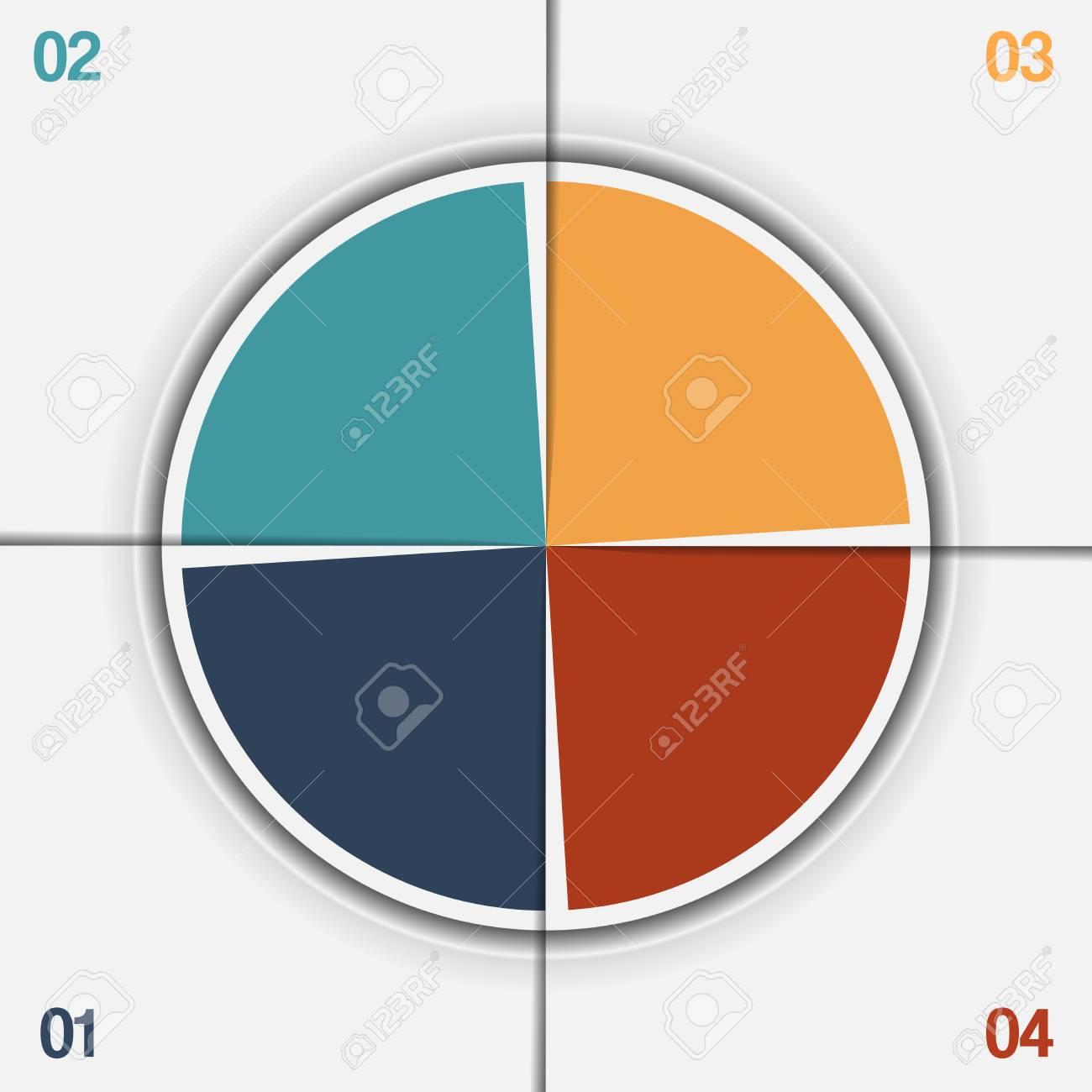 Plantilla De Gráfico Circular De Infografía De Círculo Colorido Con ...