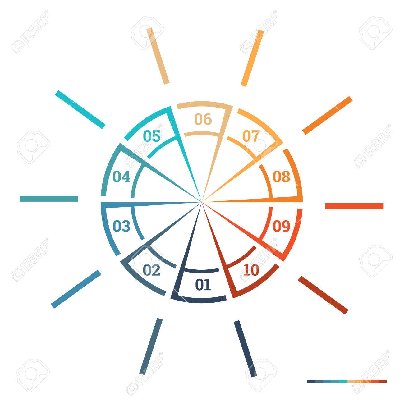Infographic pie chart template colourful circle from lines with infographic pie chart template colourful circle from lines with text areas on 10 positions for workflow nvjuhfo Choice Image