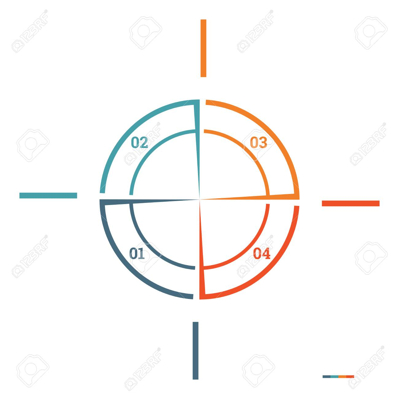 infographic pie chart template colourful circle from lines with