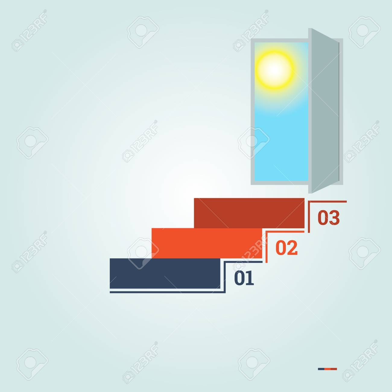 48247483 infographics numbered 3 steps up of ladder and doorway with sun infographics numbered 3 steps up of ladder and doorway with stock