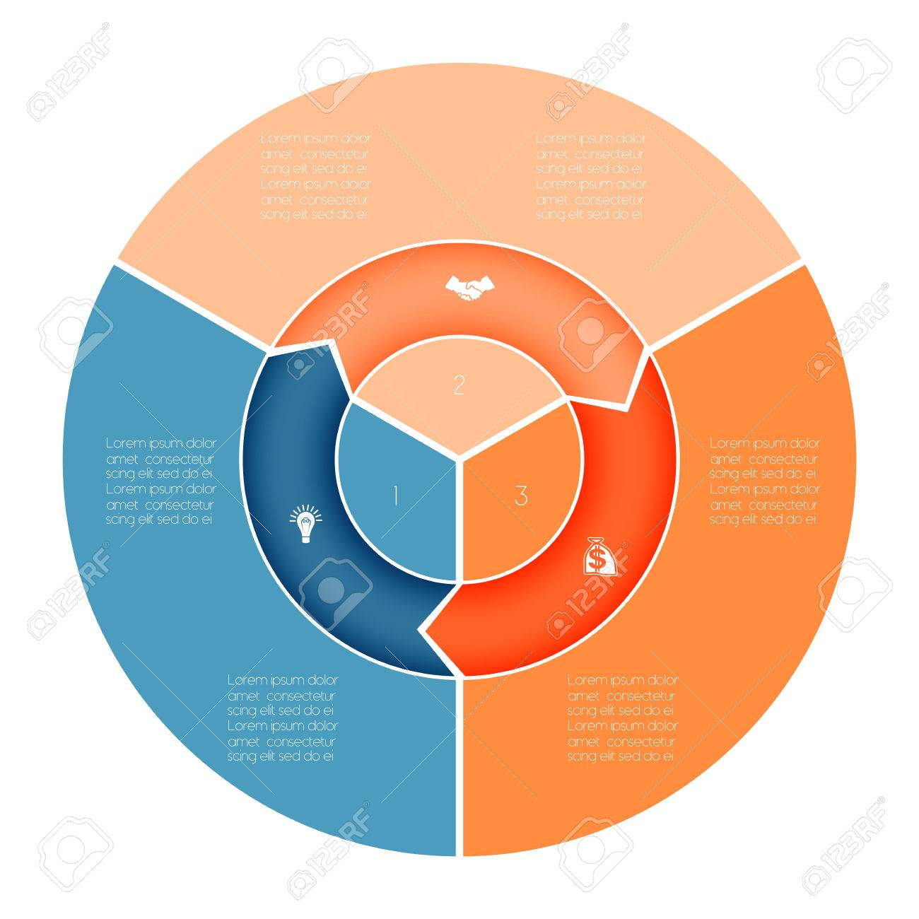area chart ring chart pie chart template infographic numbered