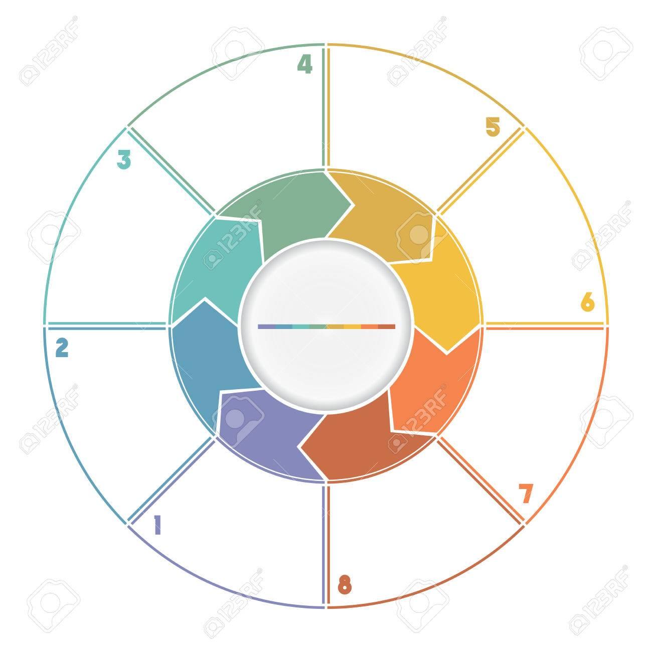 8 位番号が arrows template 循環プロセスからインフォ グラフィック