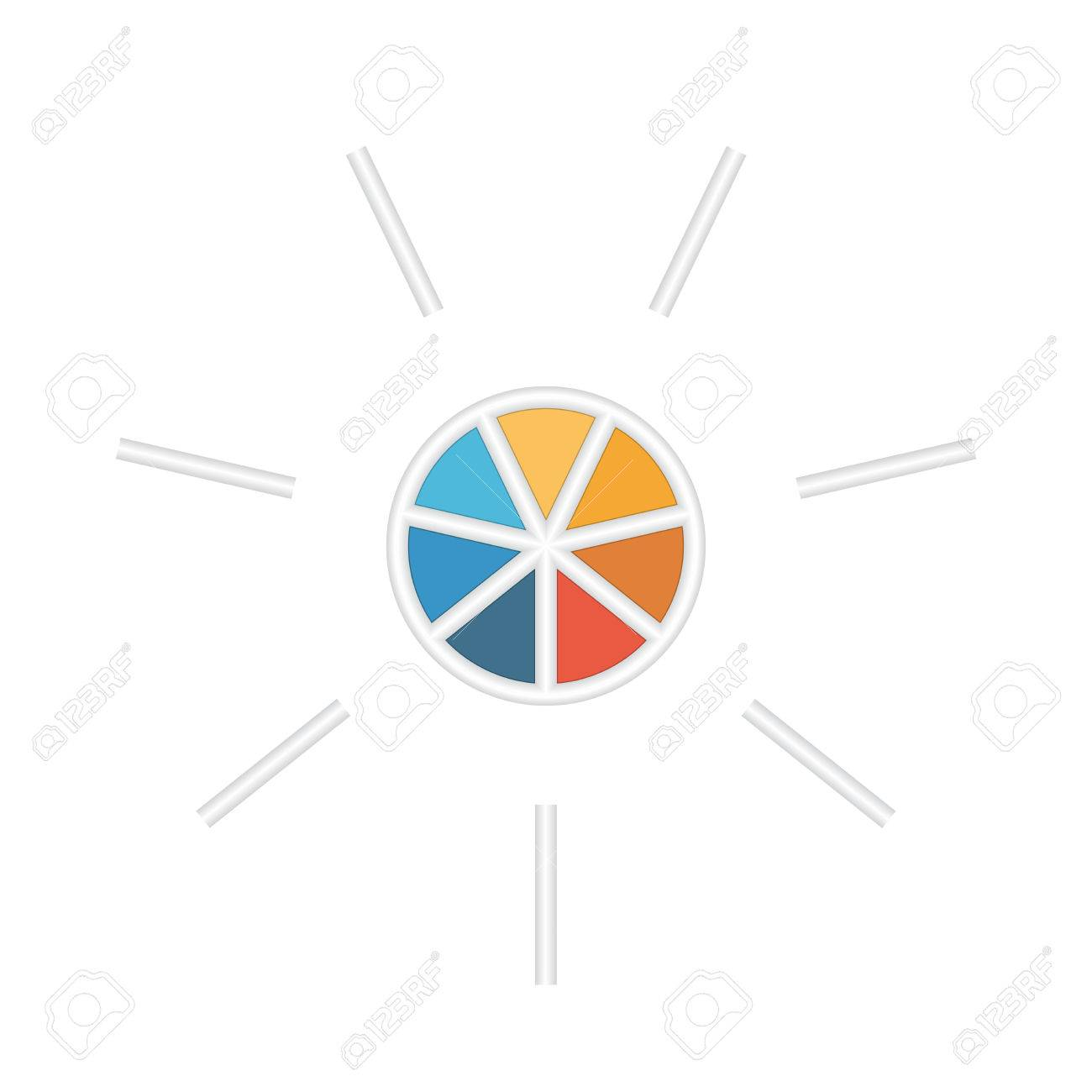 Kreisschablone Für Infografik Mit Textbereiche Auf 7 Teile ...