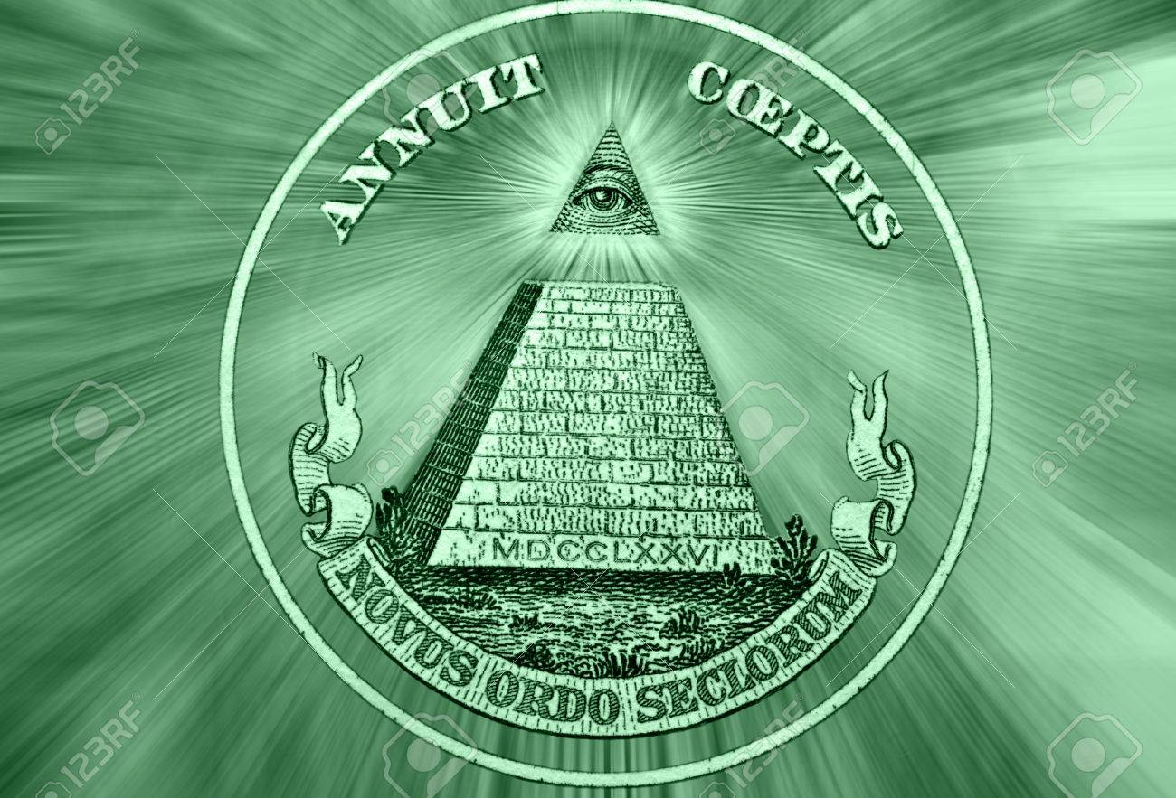 Dólar EE.UU.. Elemento De La Imagen De Estados Unidos Billete De Un Dólar,  Pirámide, Ojo De Providence, Vigas De Los Ojos En Todas Direcciones. Foto  Conceptual Para El Diseño De Negocio De