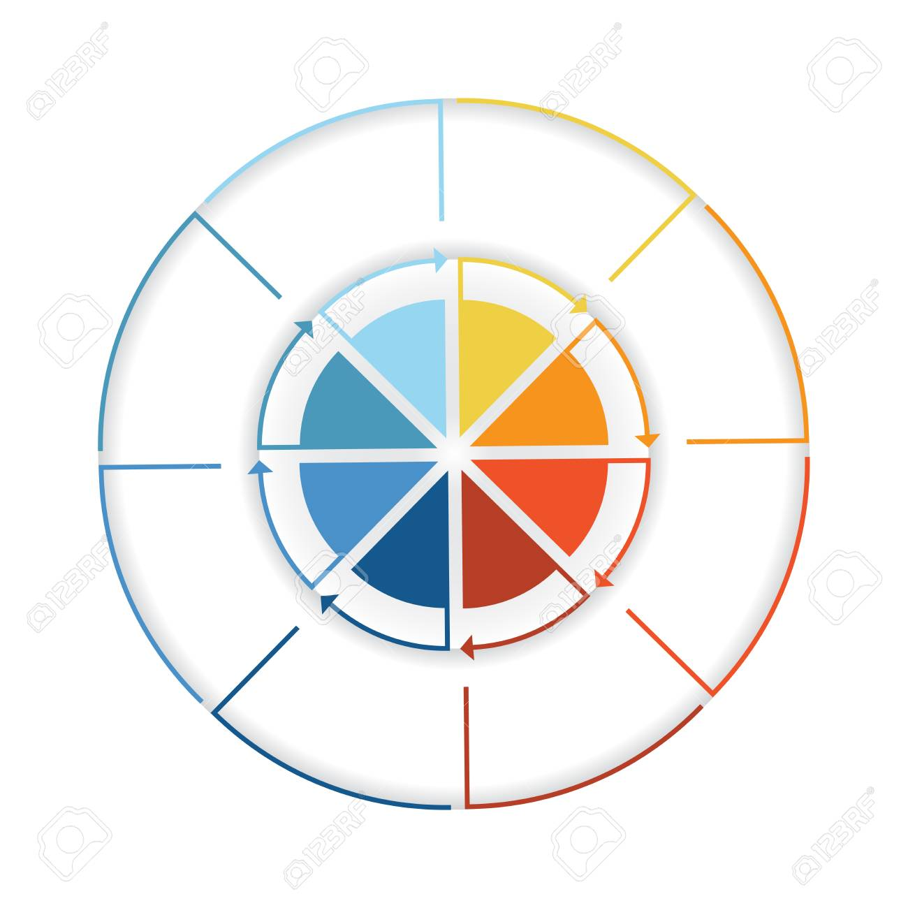 Arrows from colourful lines around circle template infographic arrows from colourful lines around circle template infographic eight position pie chart stock photo nvjuhfo Choice Image